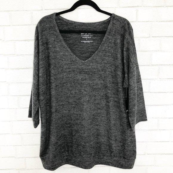 Torrid Super Soft Plush Gray 3/4 Sleeve Top, 1X